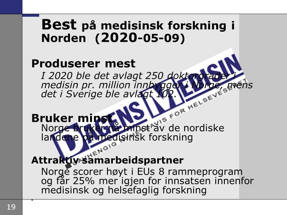 19 Best på medisinsk forskning i Norden ( 2020 -05-09) Produserer mest I 2020 ble det avlagt 250 doktorgrader i medisin pr. million innbygger i Norge,