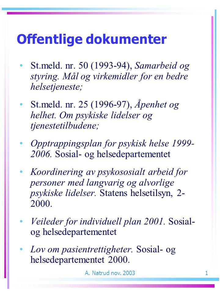 A. Natrud nov. 20031 Offentlige dokumenter St.meld. nr. 50 (1993-94), Samarbeid og styring. Mål og virkemidler for en bedre helsetjeneste; St.meld. nr