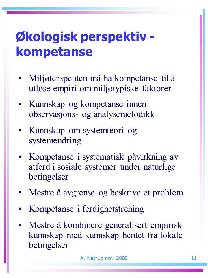 A. Natrud nov. 200311 Miljøterapeuten må ha kompetanse til å utløse empiri om miljøtypiske faktorer Kunnskap og kompetanse innen observasjons- og anal