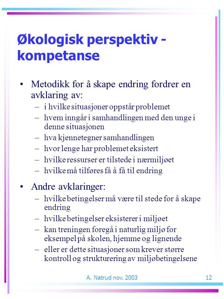 A. Natrud nov. 200312 Metodikk for å skape endring fordrer en avklaring av: –i hvilke situasjoner oppstår problemet –hvem inngår i samhandlingen med d