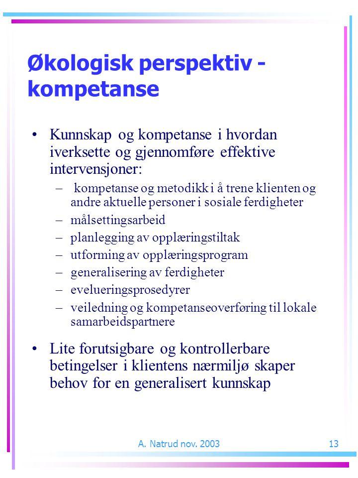 A. Natrud nov. 200313 Kunnskap og kompetanse i hvordan iverksette og gjennomføre effektive intervensjoner: – kompetanse og metodikk i å trene klienten