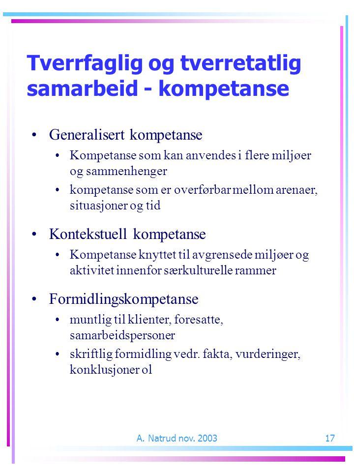 A. Natrud nov. 200317 Tverrfaglig og tverretatlig samarbeid - kompetanse Generalisert kompetanse Kompetanse som kan anvendes i flere miljøer og sammen