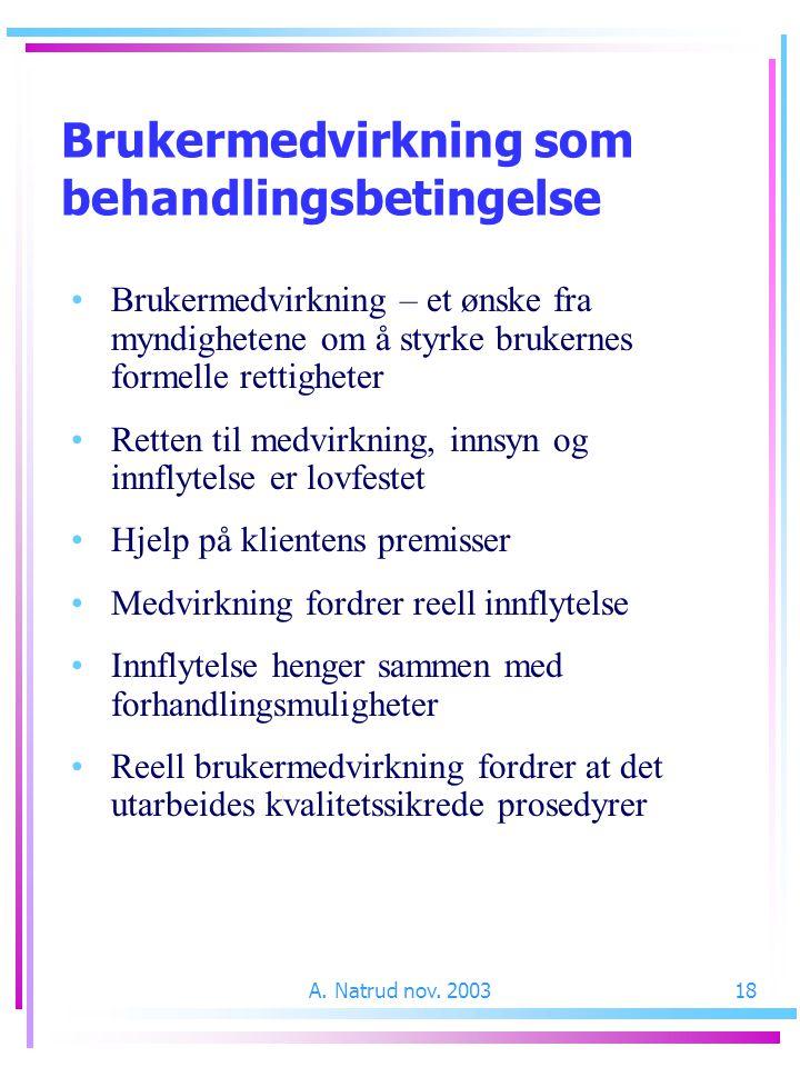 A. Natrud nov. 200318 Brukermedvirkning som behandlingsbetingelse Brukermedvirkning – et ønske fra myndighetene om å styrke brukernes formelle rettigh