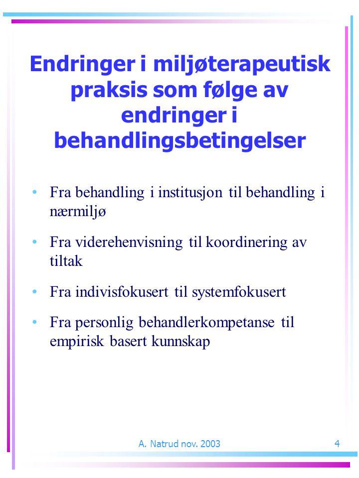 A. Natrud nov. 20034 Endringer i miljøterapeutisk praksis som følge av endringer i behandlingsbetingelser Fra behandling i institusjon til behandling