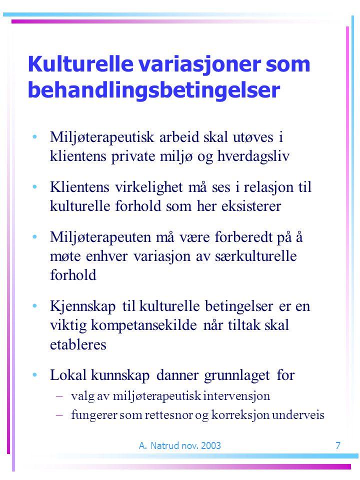 A. Natrud nov. 20037 Kulturelle variasjoner som behandlingsbetingelser Miljøterapeutisk arbeid skal utøves i klientens private miljø og hverdagsliv Kl