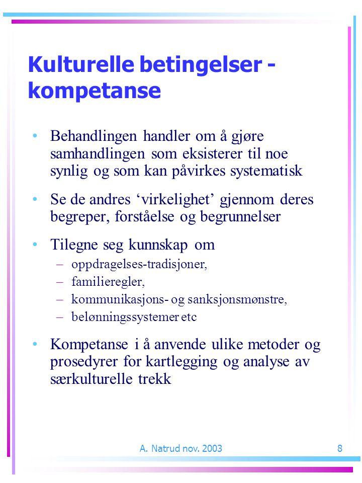 A. Natrud nov. 20038 Kulturelle betingelser - kompetanse Behandlingen handler om å gjøre samhandlingen som eksisterer til noe synlig og som kan påvirk