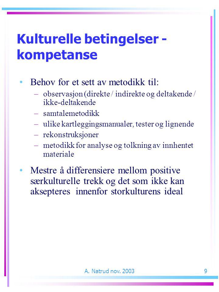 A. Natrud nov. 20039 Behov for et sett av metodikk til: –observasjon (direkte / indirekte og deltakende / ikke-deltakende –samtalemetodikk –ulike kart