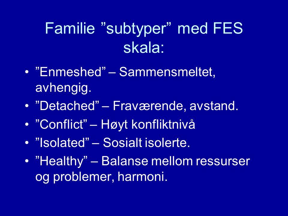 "Familie ""subtyper"" med FES skala: ""Enmeshed"" – Sammensmeltet, avhengig. ""Detached"" – Fraværende, avstand. ""Conflict"" – Høyt konfliktnivå ""Isolated"" –"