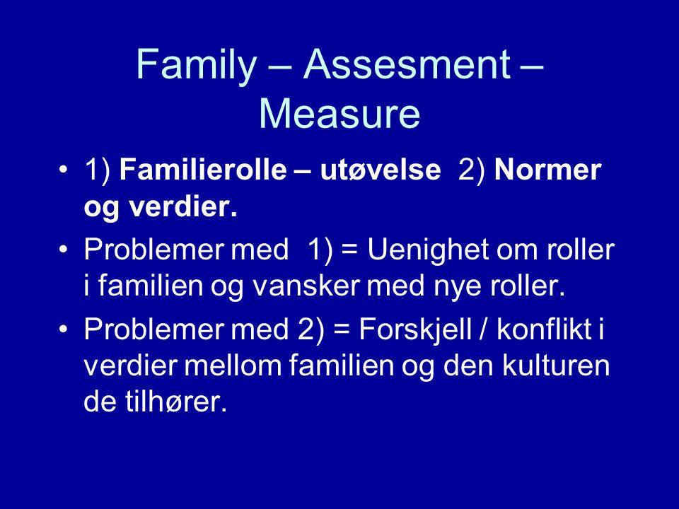 Family – Assesment – Measure 1) Familierolle – utøvelse 2) Normer og verdier. Problemer med 1) = Uenighet om roller i familien og vansker med nye roll