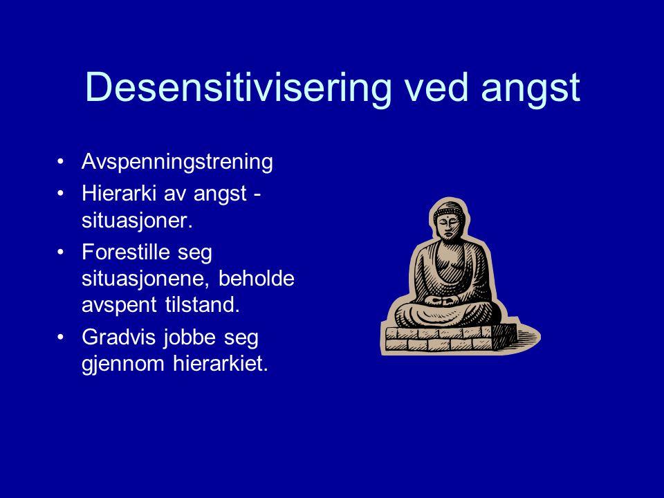Desensitivisering ved angst Avspenningstrening Hierarki av angst - situasjoner.