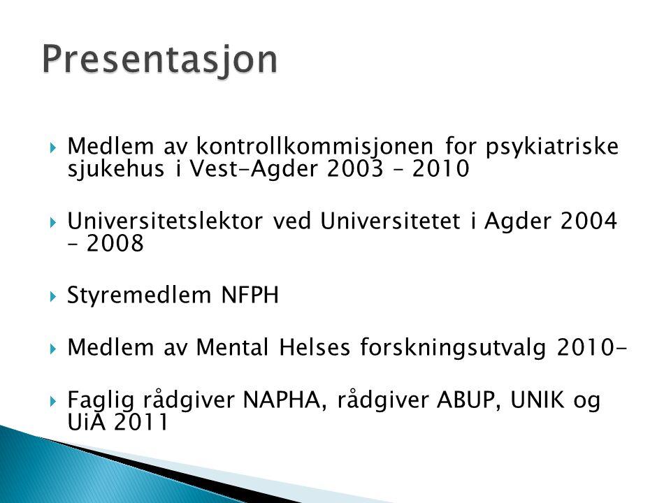  Medlem av kontrollkommisjonen for psykiatriske sjukehus i Vest-Agder 2003 – 2010  Universitetslektor ved Universitetet i Agder 2004 – 2008  Styrem