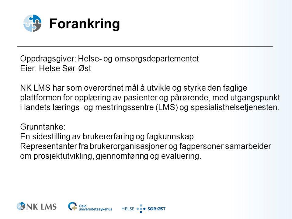 Forankring Oppdragsgiver: Helse- og omsorgsdepartementet Eier: Helse Sør-Øst NK LMS har som overordnet mål å utvikle og styrke den faglige plattformen for opplæring av pasienter og pårørende, med utgangspunkt i landets lærings- og mestringssentre (LMS) og spesialisthelsetjenesten.