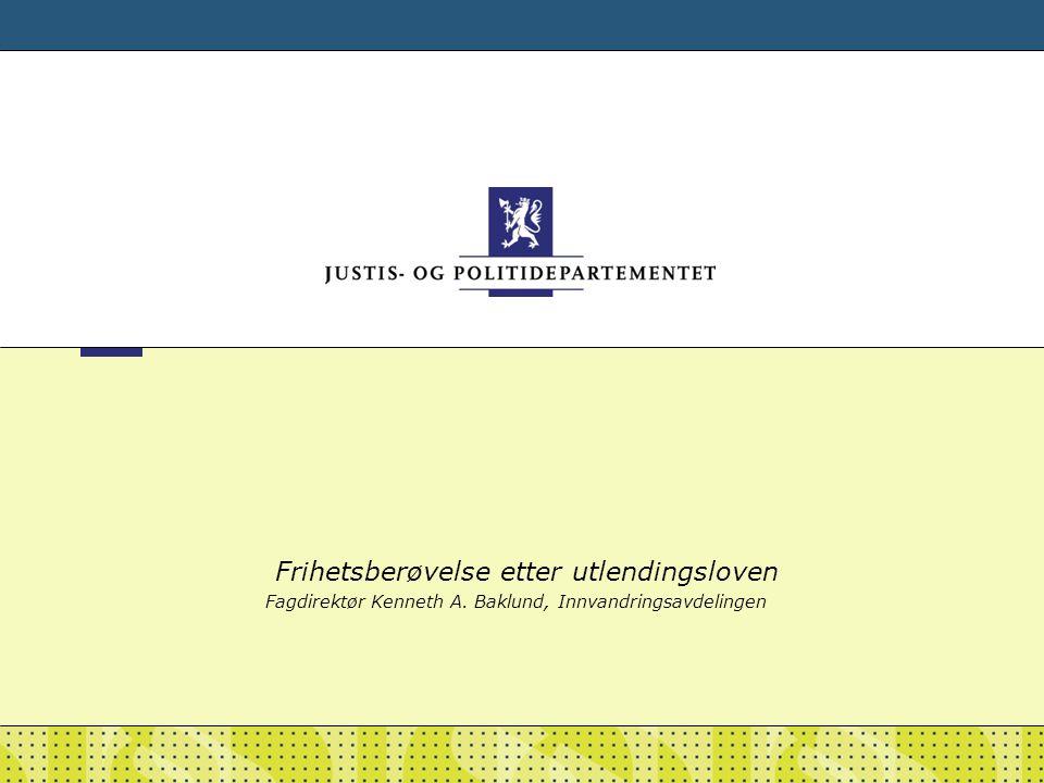 Frihetsberøvelse etter utlendingsloven Fagdirektør Kenneth A. Baklund, Innvandringsavdelingen
