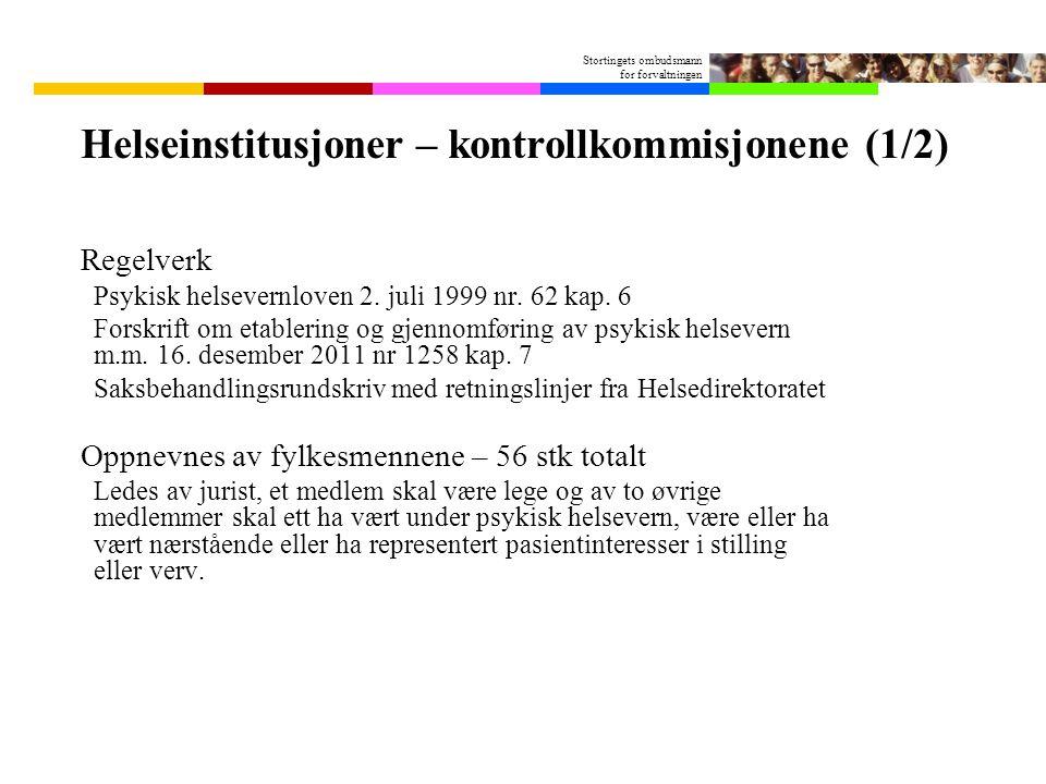 Stortingets ombudsmann for forvaltningen Helseinstitusjoner – kontrollkommisjonene (1/2) Regelverk Psykisk helsevernloven 2. juli 1999 nr. 62 kap. 6 F