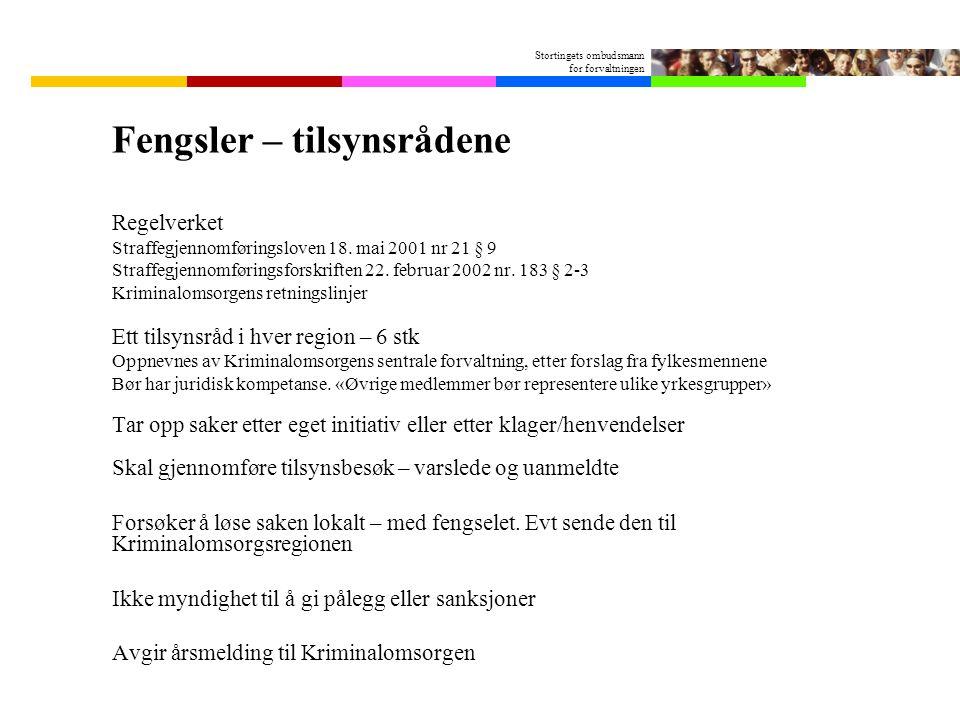 Stortingets ombudsmann for forvaltningen Fengsler – tilsynsrådene Regelverket Straffegjennomføringsloven 18. mai 2001 nr 21 § 9 Straffegjennomføringsf