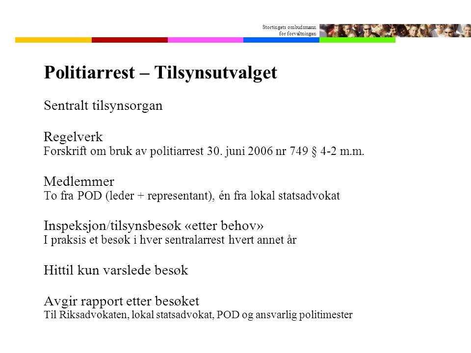 Stortingets ombudsmann for forvaltningen Politiarrest – Tilsynsutvalget Sentralt tilsynsorgan Regelverk Forskrift om bruk av politiarrest 30.