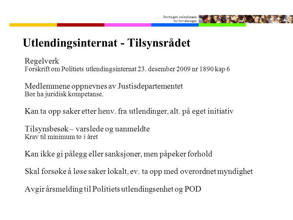 Stortingets ombudsmann for forvaltningen Utlendingsinternat - Tilsynsrådet Regelverk Forskrift om Politiets utlendingsinternat 23.