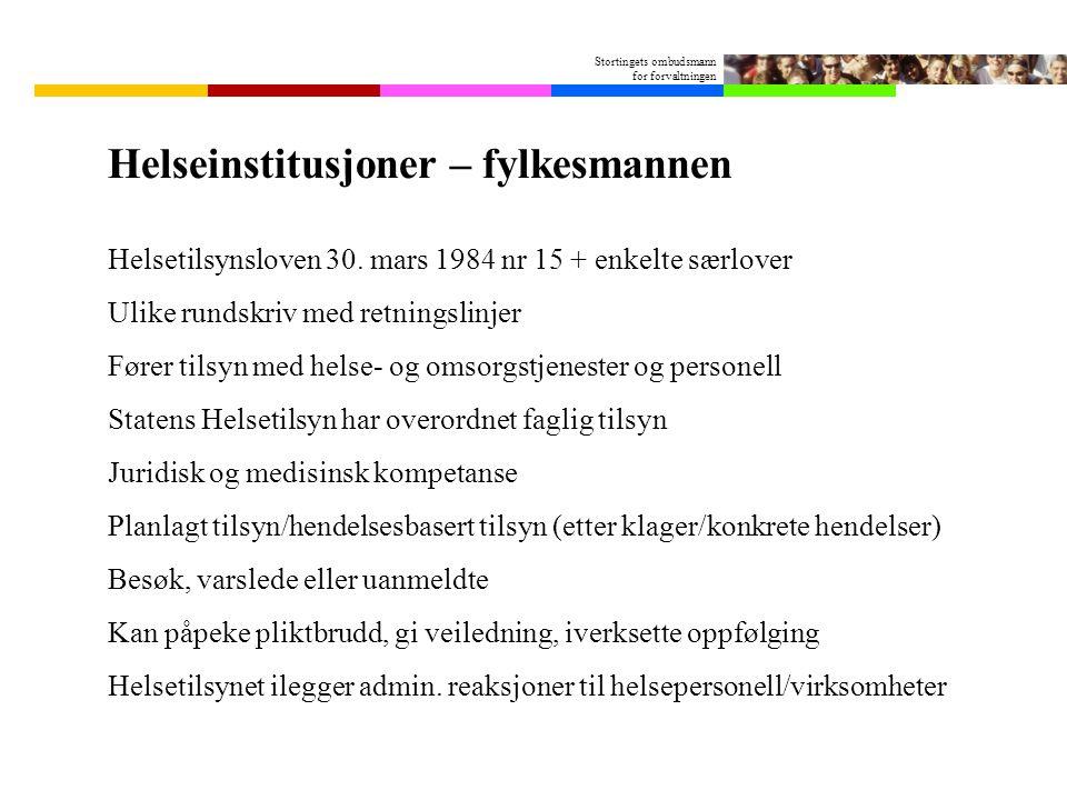 Stortingets ombudsmann for forvaltningen Helseinstitusjoner – fylkesmannen Helsetilsynsloven 30.