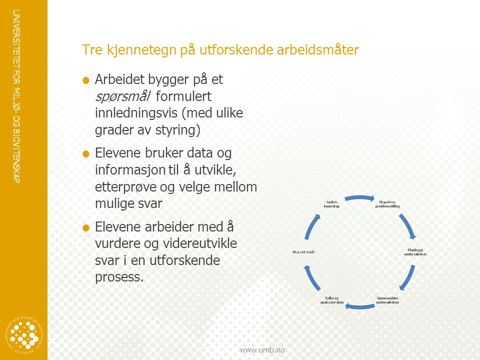 UNIVERSITETET FOR MILJØ- OG BIOVITENSKAP www.umb.no Tre kjennetegn på utforskende arbeidsmåter  Arbeidet bygger på et spørsmål formulert innledningsv