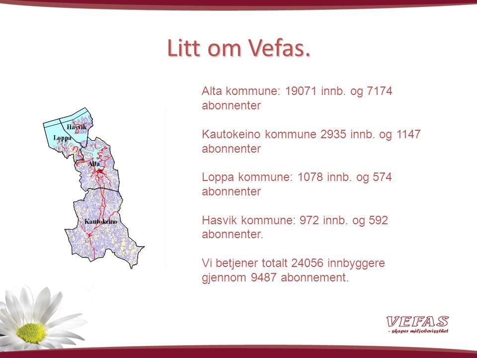 Litt om Vefas. Alta kommune: 19071 innb. og 7174 abonnenter Kautokeino kommune 2935 innb.