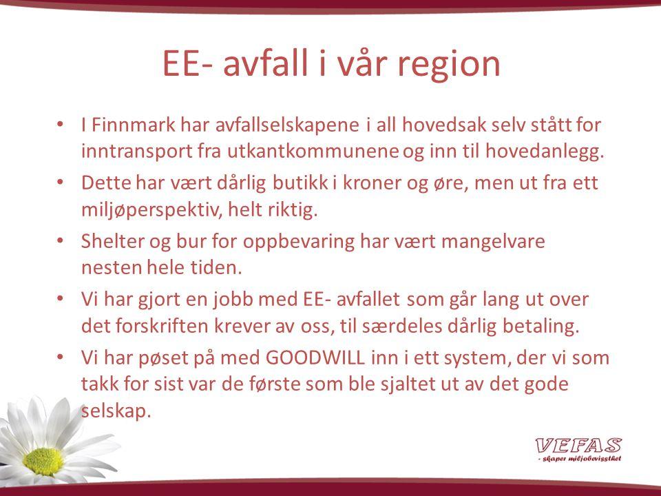EE- avfall i vår region I Finnmark har avfallselskapene i all hovedsak selv stått for inntransport fra utkantkommunene og inn til hovedanlegg.