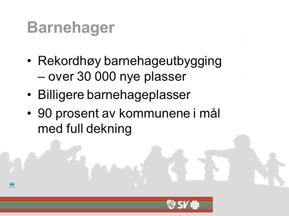 Barnehager Rekordhøy barnehageutbygging – over 30 000 nye plasser Billigere barnehageplasser 90 prosent av kommunene i mål med full dekning 