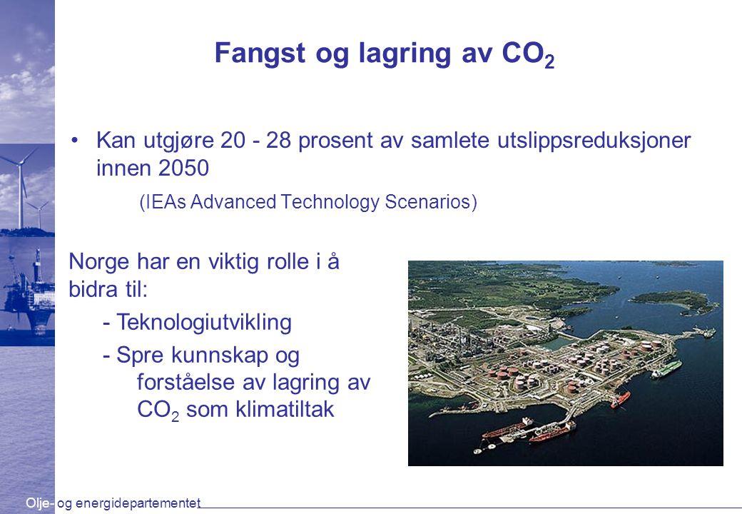 Fangst og lagring av CO 2 Kan utgjøre 20 - 28 prosent av samlete utslippsreduksjoner innen 2050 (IEAs Advanced Technology Scenarios) Norge har en vikt