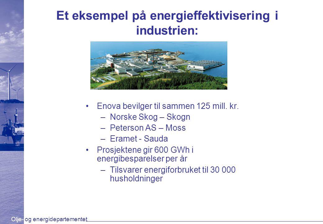 Olje- og energidepartementet Et eksempel på energieffektivisering i industrien: Enova bevilger til sammen 125 mill. kr. –Norske Skog – Skogn –Peterson