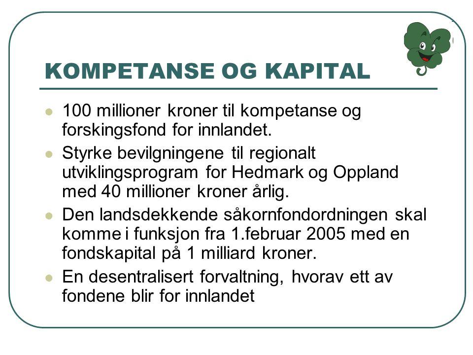 KOMPETANSE OG KAPITAL 100 millioner kroner til kompetanse og forskingsfond for innlandet.