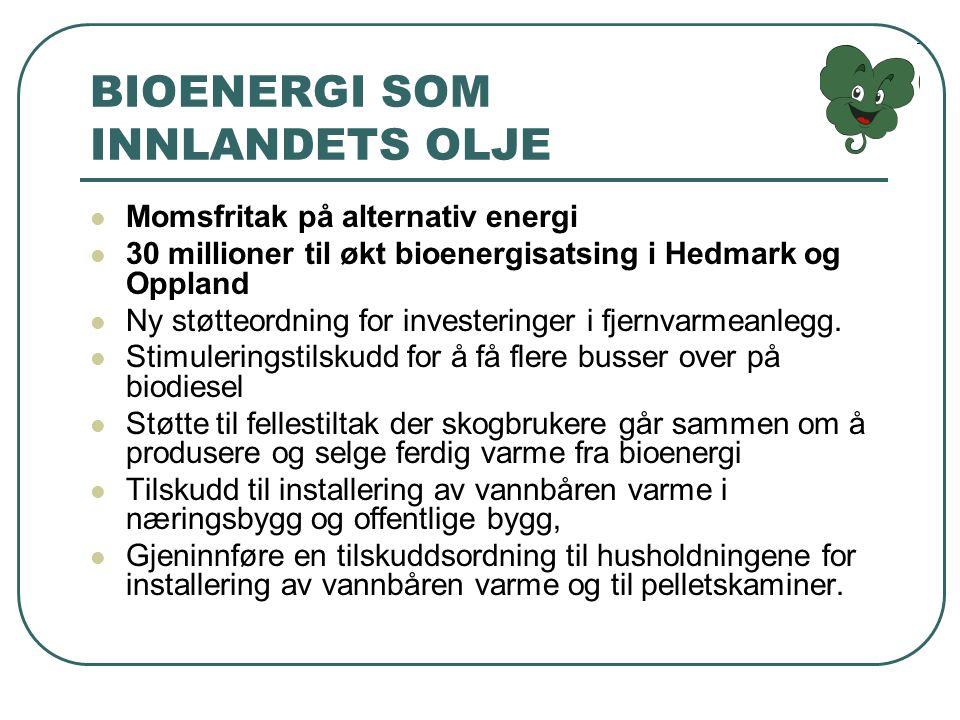 BIOENERGI SOM INNLANDETS OLJE Momsfritak på alternativ energi 30 millioner til økt bioenergisatsing i Hedmark og Oppland Ny støtteordning for investeringer i fjernvarmeanlegg.