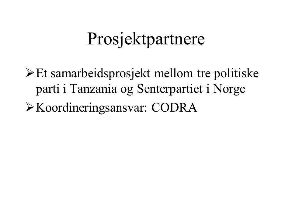 Prosjektpartnere  Et samarbeidsprosjekt mellom tre politiske parti i Tanzania og Senterpartiet i Norge  Koordineringsansvar: CODRA