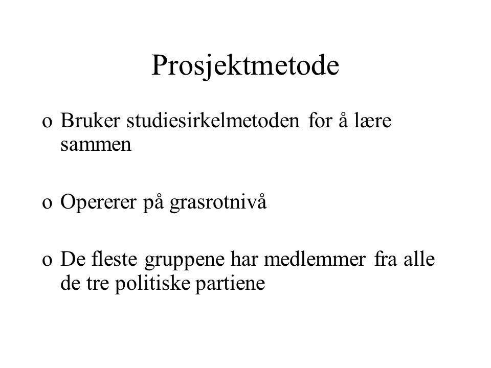 Prosjektmetode oBruker studiesirkelmetoden for å lære sammen oOpererer på grasrotnivå oDe fleste gruppene har medlemmer fra alle de tre politiske partiene