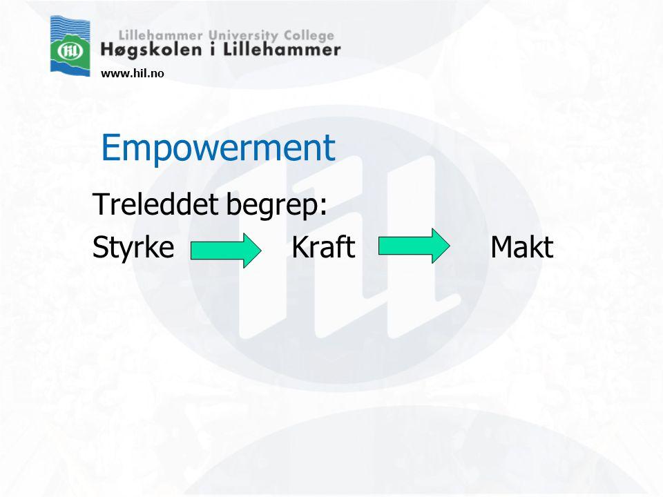 www.hil.no Empowerment Treleddet begrep: StyrkeKraftMakt