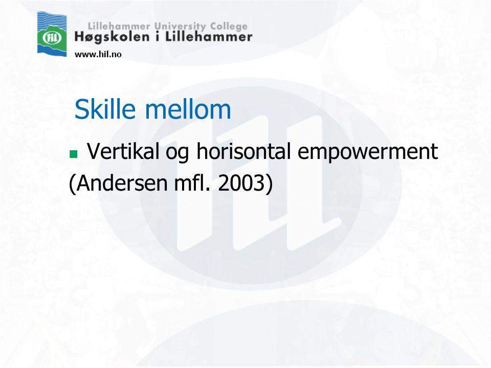 www.hil.no Skille mellom Vertikal og horisontal empowerment (Andersen mfl. 2003)