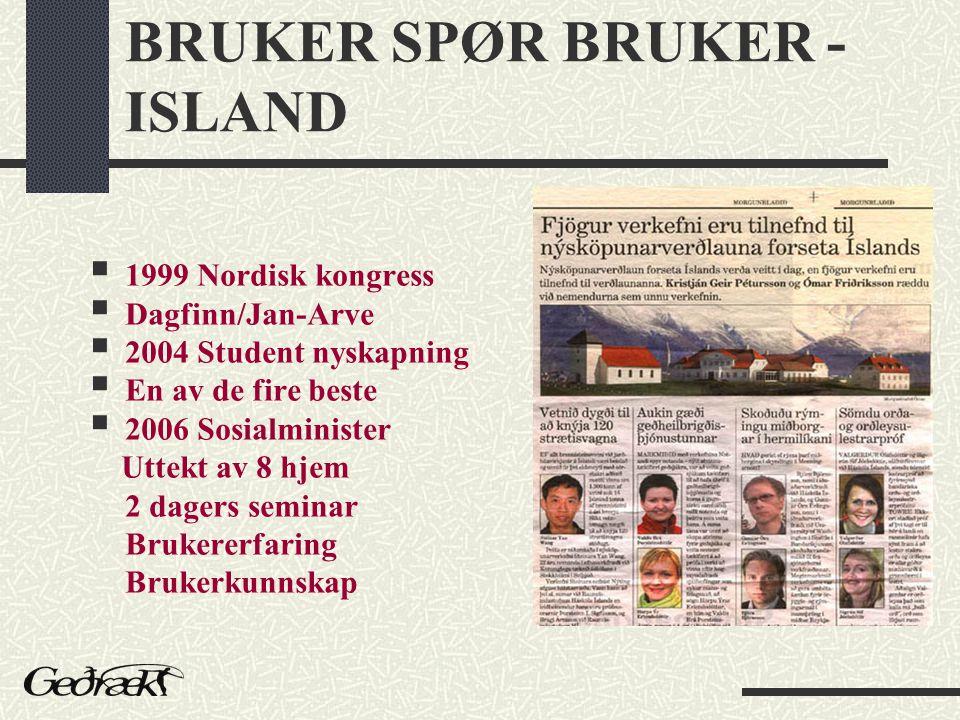 BRUKER SPØR BRUKER - ISLAND  1999 Nordisk kongress  Dagfinn/Jan-Arve  2004 Student nyskapning  En av de fire beste  2006 Sosialminister Uttekt av 8 hjem 2 dagers seminar Brukererfaring Brukerkunnskap