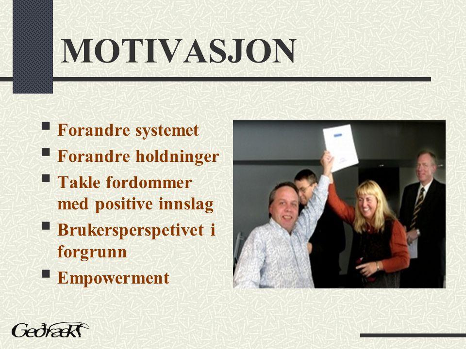 MOTIVASJON  Forandre systemet  Forandre holdninger  Takle fordommer med positive innslag  Brukersperspetivet i forgrunn  Empowerment