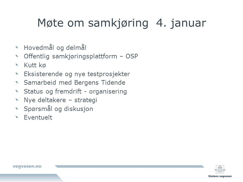 Møte om samkjøring 4. januar Hovedmål og delmål Offentlig samkjøringsplattform – OSP Kutt kø Eksisterende og nye testprosjekter Samarbeid med Bergens