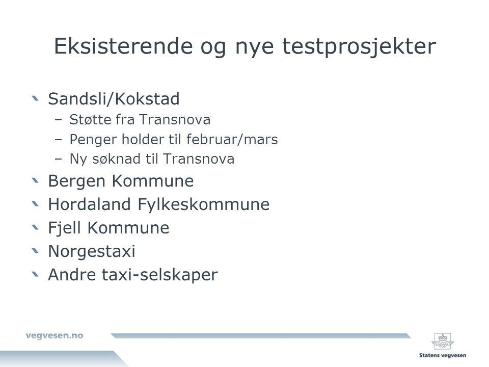 Eksisterende og nye testprosjekter Sandsli/Kokstad –Støtte fra Transnova –Penger holder til februar/mars –Ny søknad til Transnova Bergen Kommune Horda