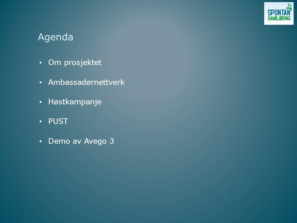 Om prosjektet Ambassadørnettverk Høstkampanje PUST Demo av Avego 3 Agenda