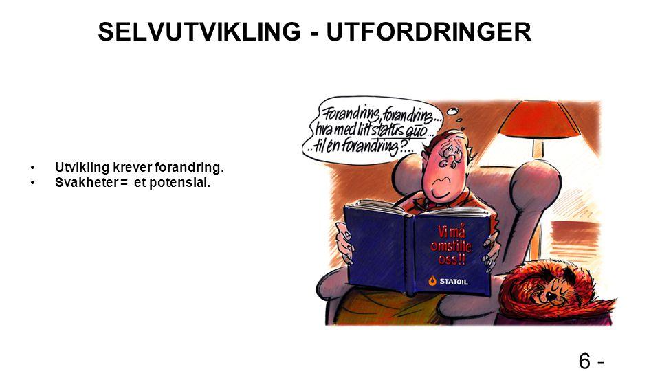 6 - SELVUTVIKLING - UTFORDRINGER Utvikling krever forandring. Svakheter = et potensial.