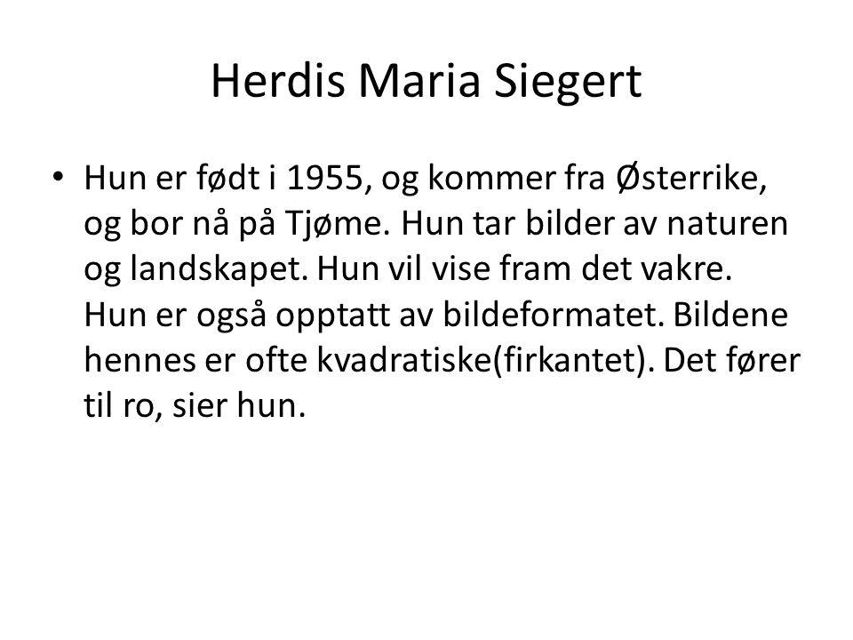 Herdis Maria Siegert Hun er født i 1955, og kommer fra Østerrike, og bor nå på Tjøme. Hun tar bilder av naturen og landskapet. Hun vil vise fram det v