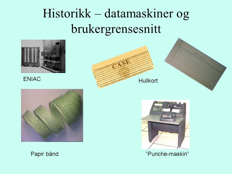 """Historikk – datamaskiner og brukergrensesnitt ENIAC Hullkort Papir bånd""""Punche-maskin"""""""