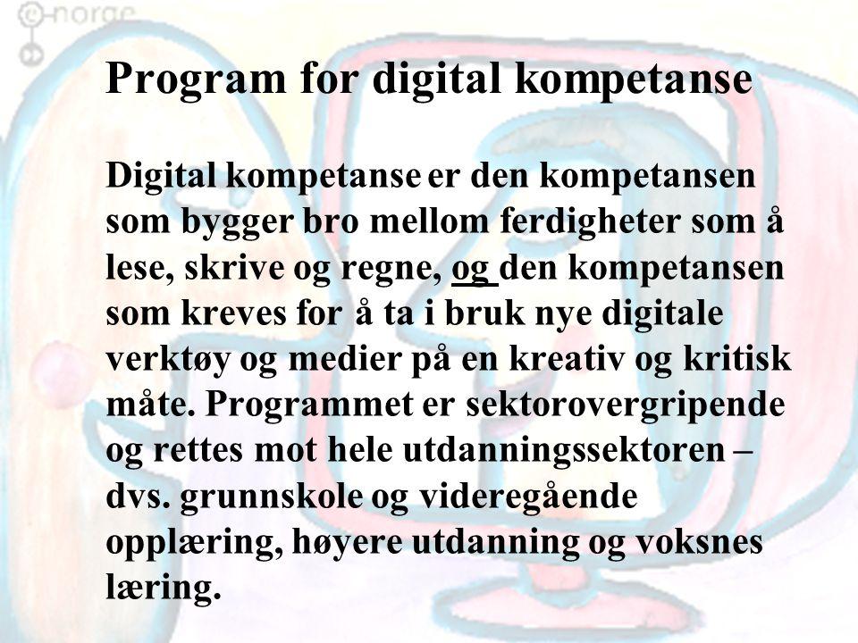 Program for digital kompetanse Digital kompetanse er den kompetansen som bygger bro mellom ferdigheter som å lese, skrive og regne, og den kompetansen