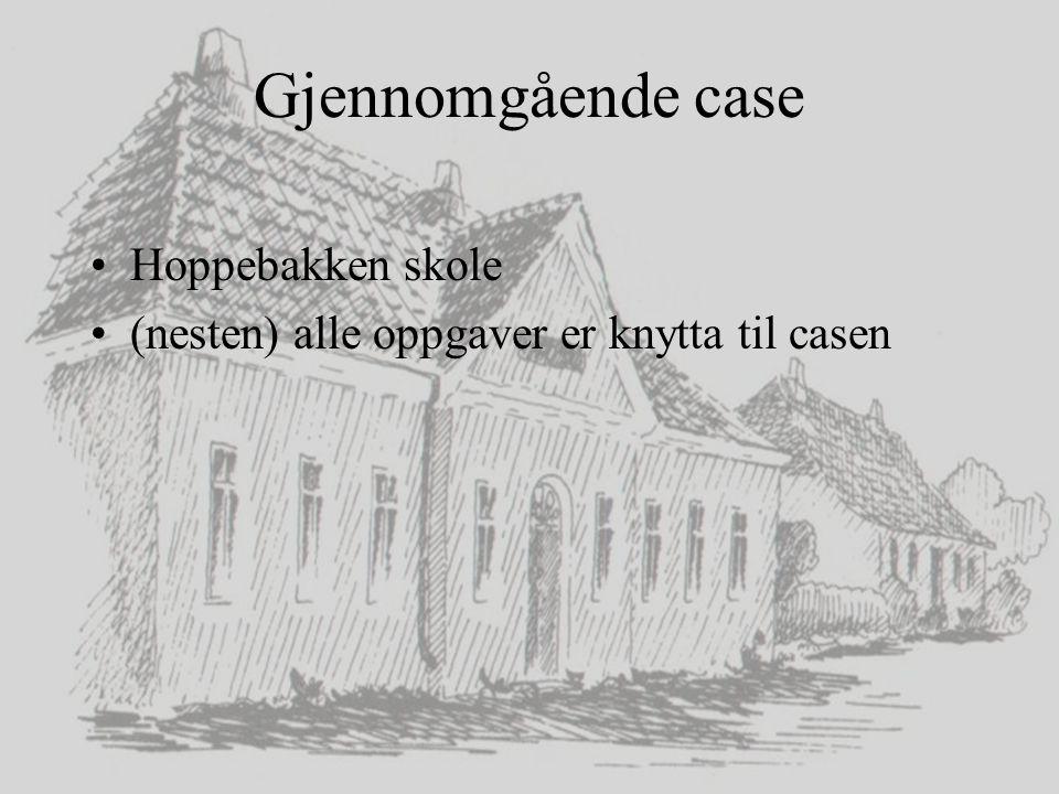 IKT og læring 2006-2007 Gjennomgående case Hoppebakken skole (nesten) alle oppgaver er knytta til casen