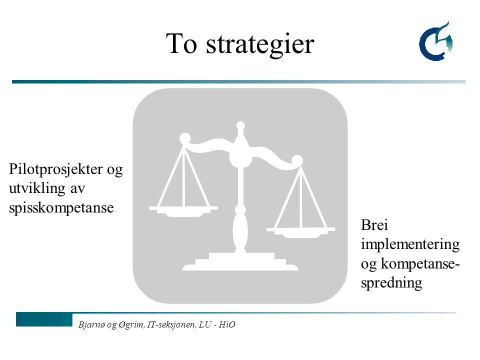 Bjarnø og Øgrim, IT-seksjonen, LU - HiO To strategier Pilotprosjekter og utvikling av spisskompetanse Brei implementering og kompetanse- spredning