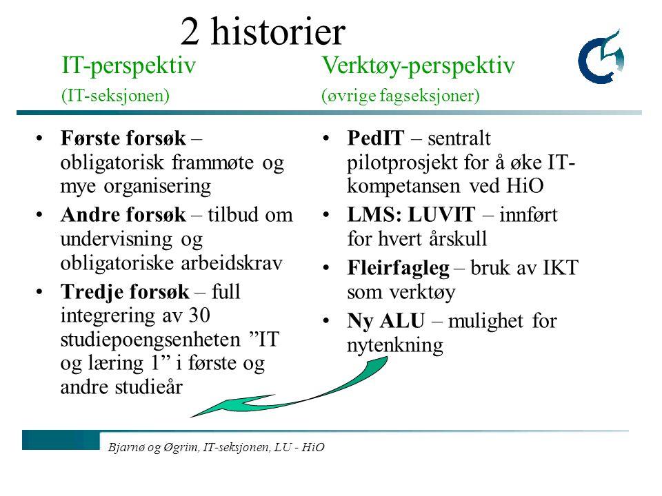 Bjarnø og Øgrim, IT-seksjonen, LU - HiO 2 historier Første forsøk – obligatorisk frammøte og mye organisering Andre forsøk – tilbud om undervisning og
