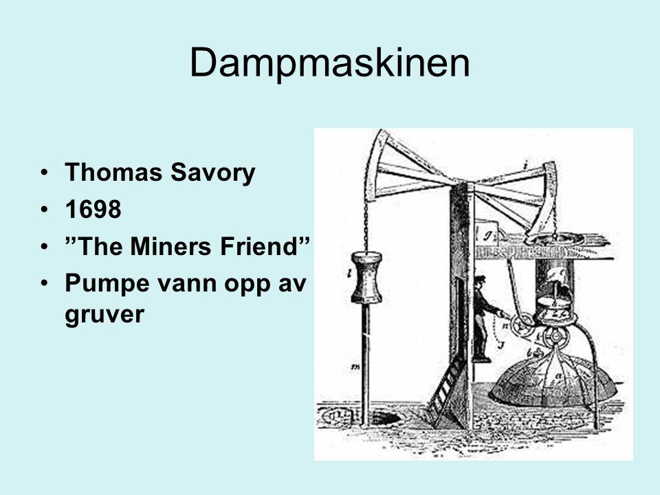 "Dampmaskinen Thomas Savory 1698 ""The Miners Friend"" Pumpe vann opp av gruver"