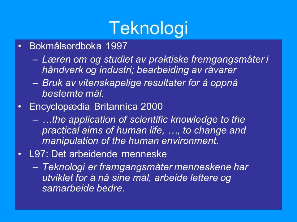 Teknologi Bokmålsordboka 1997 –Læren om og studiet av praktiske fremgangsmåter i håndverk og industri; bearbeiding av råvarer –Bruk av vitenskapelige resultater for å oppnå bestemte mål.