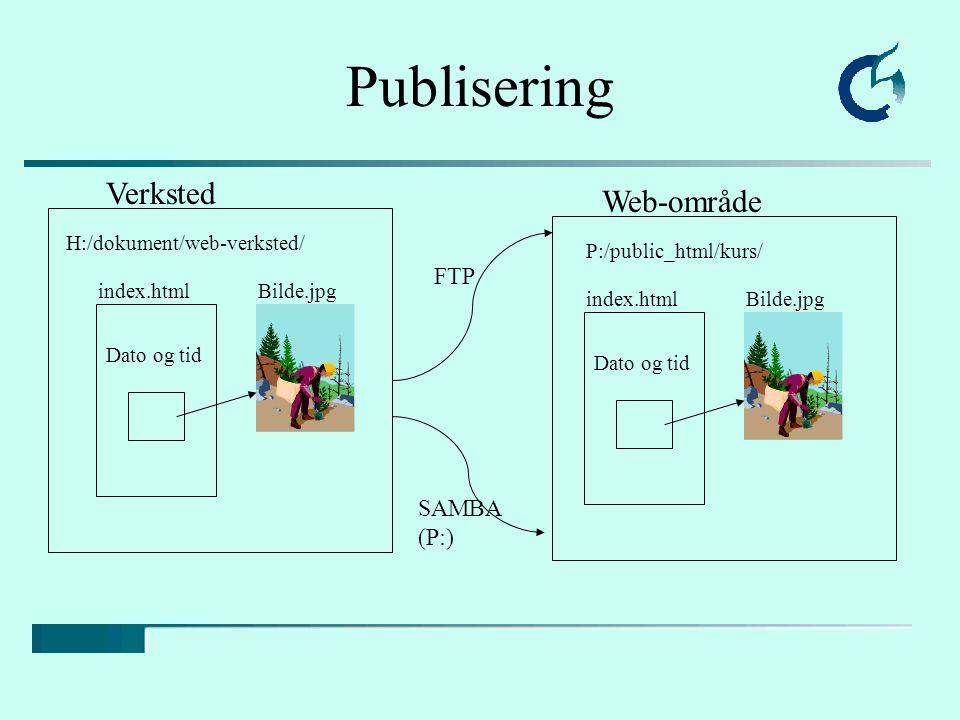 Verksted Web-område H:/dokument/web-verksted/ P:/public_html/kurs/ index.htmlBilde.jpg Dato og tid Publisering index.htmlBilde.jpg Dato og tid FTP SAMBA (P:)