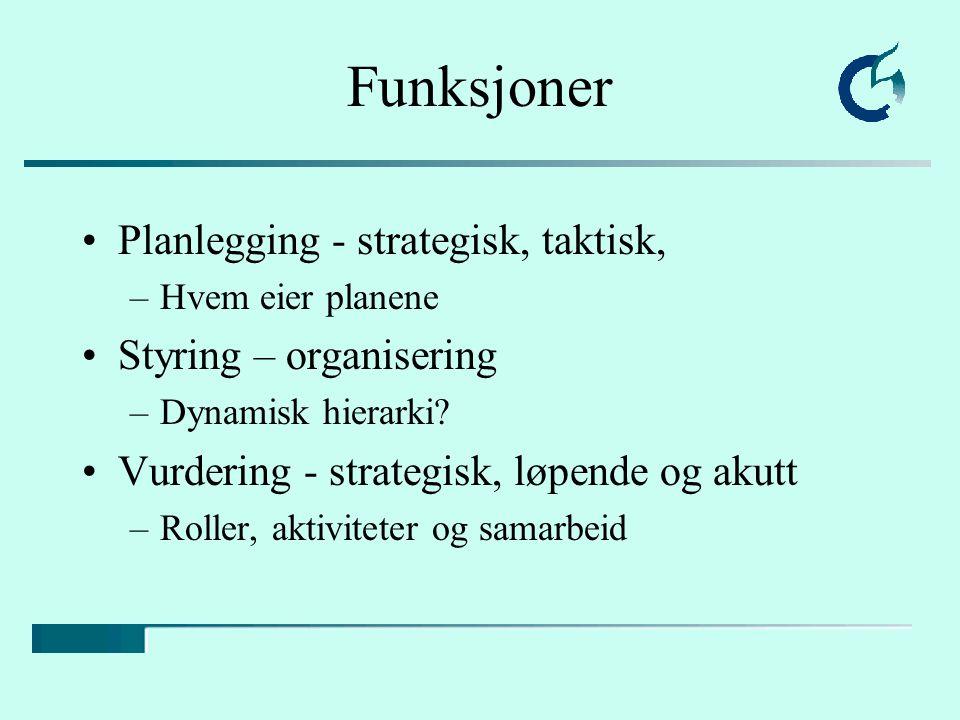 Funksjoner Planlegging - strategisk, taktisk, –Hvem eier planene Styring – organisering –Dynamisk hierarki.